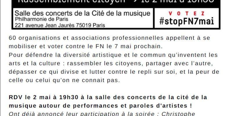 Rassemblement citoyen le 2 mai à 19h30 salle des concerts de la cite dé la musique