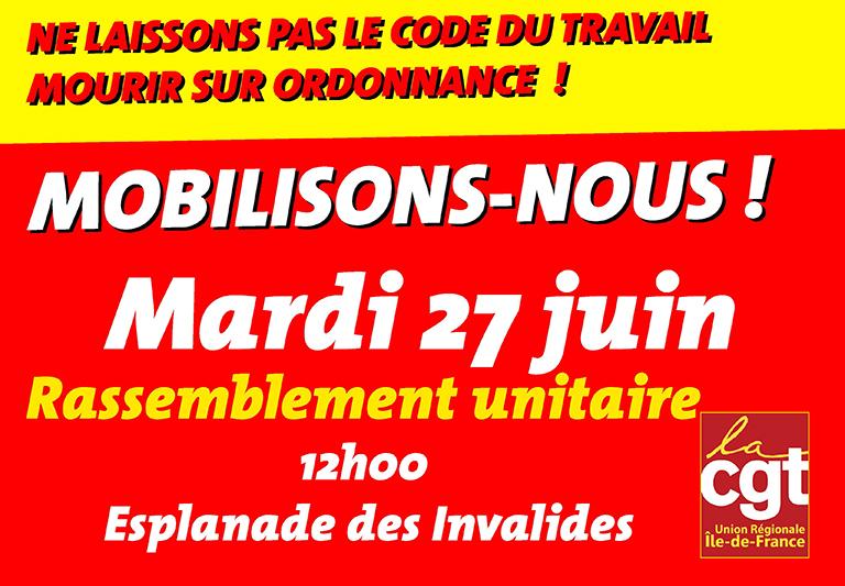 mobilisation CGT du 27 juin 2017