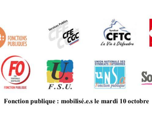 Fonction publique : mobilisé.e.s le mardi 10 octobre
