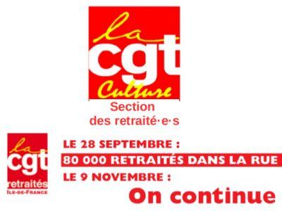 LE 28 SEPTEMBRE : 80 000 RETRAITÉS DANS LA RUE ! LE 9 NOVEMBRE : On continue  !