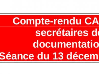 Compte-rendu CAP des secrétaires de documentation Séance du 13 décembre 2017