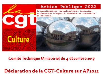 Comité technique ministériel du 4 décembre 2017 – Déclaration de la CGT-Culture sur AP 2022