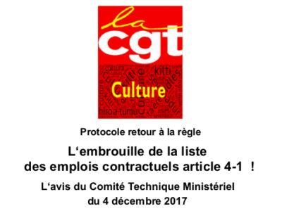 Protocole retour à la règle – L'embrouille de la liste  des emplois contractuels article 4-1  !