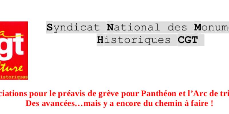 Négociations pour le préavis de grève pour Panthéon et l'Arc de triomphe : Des avancées…mais y a encore du chemin à faire !