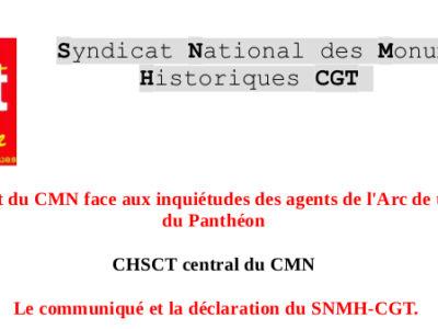 CHSCT central du CMN : Le président du CMN face aux inquiétudes des agents de l'Arc de triomphe et du Panthéon