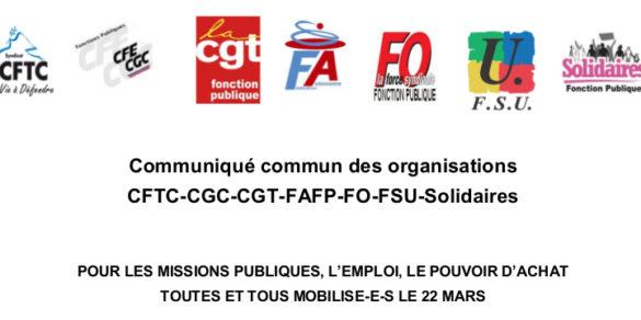 22 mars : appel à la mobilisation dans la Fonction publique