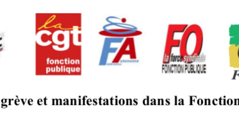 22 mars : grève et manifestations dans la Fonction publique