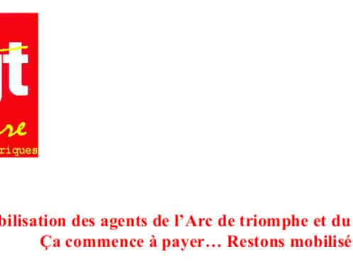 Mobilisation des agents de l'Arc de triomphe et du Panthéon : Ça commence à payer… Restons mobilisés !