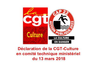 Déclaration de la CGT-Culture en comité technique ministériel