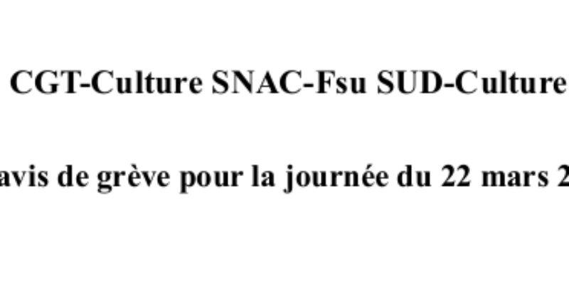 CFTC CGT FSU SUD UNSA Préavis de grève pour la journée 22 mars 2018