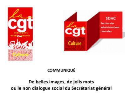 De belles images, de jolis mots ou le non dialogue social du Secrétariat général