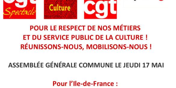POUR LE RESPECT DE NOS MÉTIERS ET DU SERVICE PUBLIC DE LA CULTURE ! RÉUNISSONS-NOUS, MOBILISONS-NOUS !