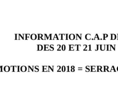 INFORMATION C.A.P DES ADSM  DES 20 ET 21 JUIN 2018 : PROMOTIONS EN 2018 = SERRAGE DE CEINTURE