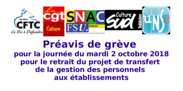 CFTC-Culture CGT-Culture  SNAC-Fsu  SUD-Culture-Solidaires  UNSA-Culture Préavis de grève pour la journée du mardi 2 octobre 2018