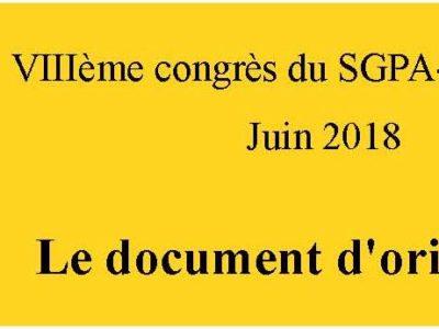 VIII ème congrès SGPA-CGT-culture: document d'orientation