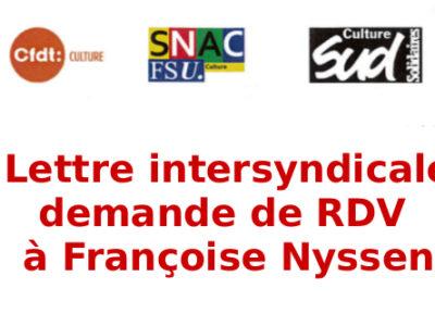 Lettre intersyndicale, demande de RDV à Françoise Nyssen