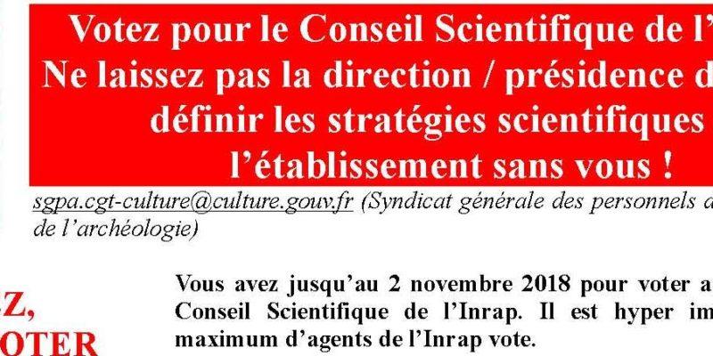 élections au Conseil Scientifique de l'Inrap nov.2018
