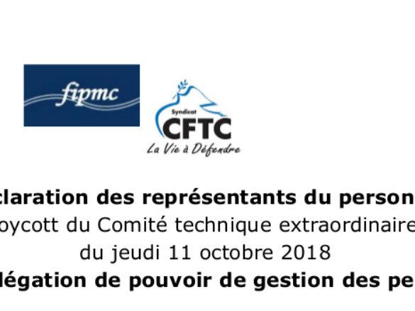Déclaration des représentants du personnel suite au boycott du Comité technique extraordinaire EP-M'OO du jeudi 11 octobre 2018 sur la délégation de pouvoir de gestion des personnels