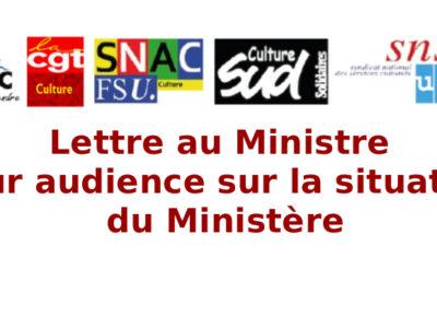 Lettre au Ministre pour audience sur la situation du Ministère