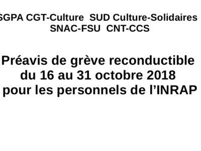 Préavis de grève reconductible du 16 au 31 octobre 2018 pour les personnels de l'INRAP