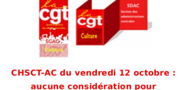 CHSCT-AC du vendredi 12 octobre : aucune considération pour les droits des agents.