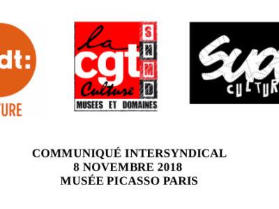 CT exceptionnel MUSÉE PICASSO PARIS – COMMUNIQUÉ INTERSYNDICAL 8 NOVEMBRE 2018