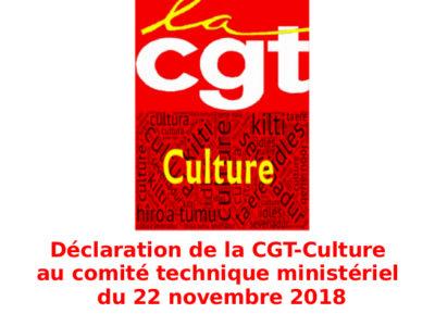 Déclaration de la CGT-Culture au comité technique ministériel du 22 novembre 2018