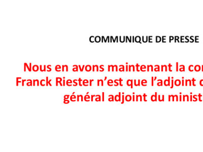 Nous en avons maintenant la confirmation, Franck Riester n'est que l'adjoint du secrétaire général adjoint du ministère.