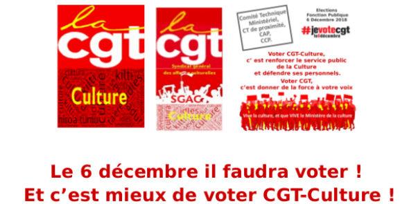 Le 6 décembre il faudra voter. Et c'est mieux de voter CGT-Culture !