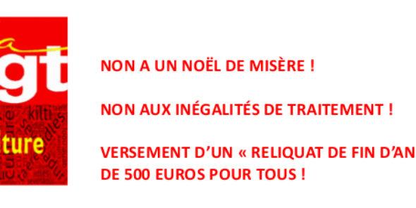 NON A UN NOËL DE MISÈRE !  NON AUX INÉGALITÉS DE TRAITEMENT !