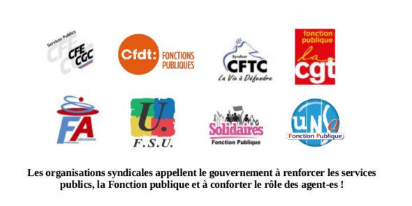 Communiqué commun : Les organisations syndicales appellent le gouvernement à renforcer les services publics, la Fonction publique et à conforter le rôle des agent-es !