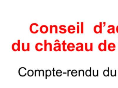 Compte-rendu du Conseil d'administration du château de Fontainebleau du 11 décembre 2018