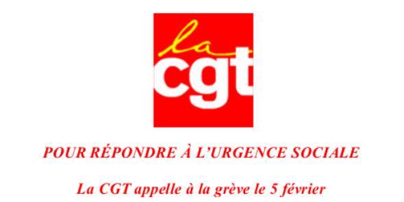 Pour répondre à l'urgence sociale la CGT appelle à la grève le 5 février