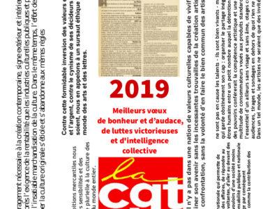 2019  Meilleurs vœux  de bonheur et d'audace, de luttes victorieuses et d'intelligence collective