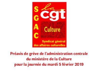 Préavis de grève de l'administration centrale du ministère de la Culture pour la journée du mardi 5 février 2019