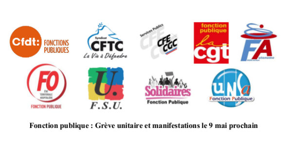 Fonction publique : Grève unitaire et manifestations le 9 mai prochain