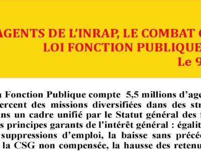 Inrap – Communiqué : Agents de l'Inrap, le combat contre le projet de loi Fonction Publique est aussi le vôtre ! Le 9 mai, Tous mobilisés !
