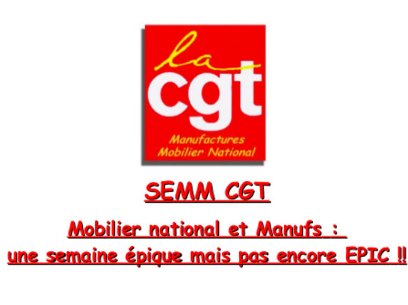 Mobilier national et Manufs: une semaine épique mais pas encore EPIC!!
