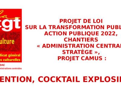 Projet de loi sur la Transformation publique,  Action publique 2022,  Chantiers «Administration centrale STRATÈGE»,  projet Camus: attention, cocktail explosif!!!