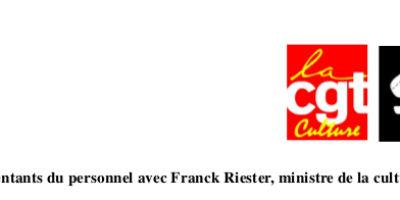 Entretien des représentants du personnel avec Franck Riester, ministre de la Culture, le 17 mai 2019.