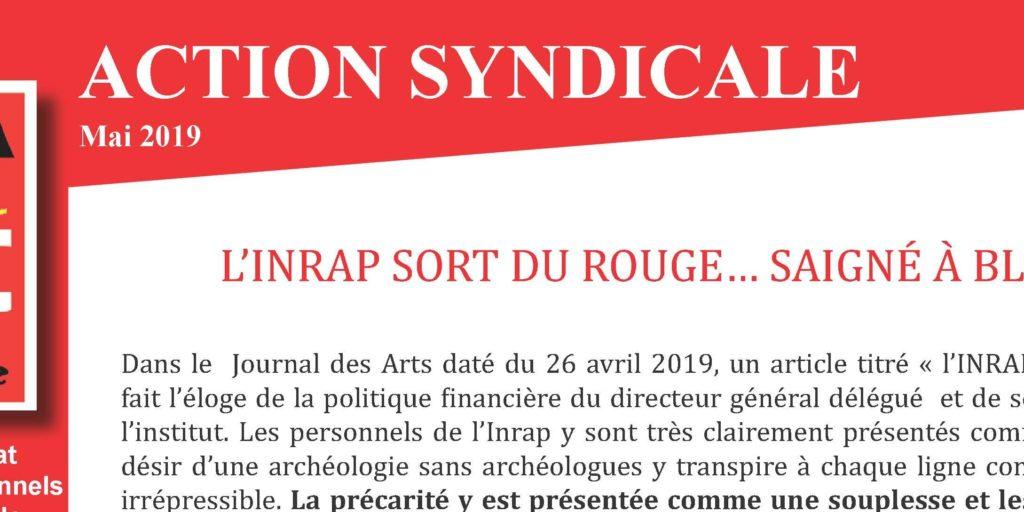 Inrap. Action Syndicale mai 2019 – L' Inrap sort du rouge… saigné à blanc !