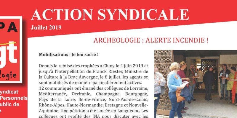 Inrap. Action Syndicale juillet 2019. Archéologie : Alerte incendie !