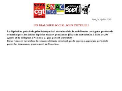 [SGPA-CGT] [SNAC-FSU] [SUD-CULTURE] [CNT-CCS] Un dialogue social sous tutelle