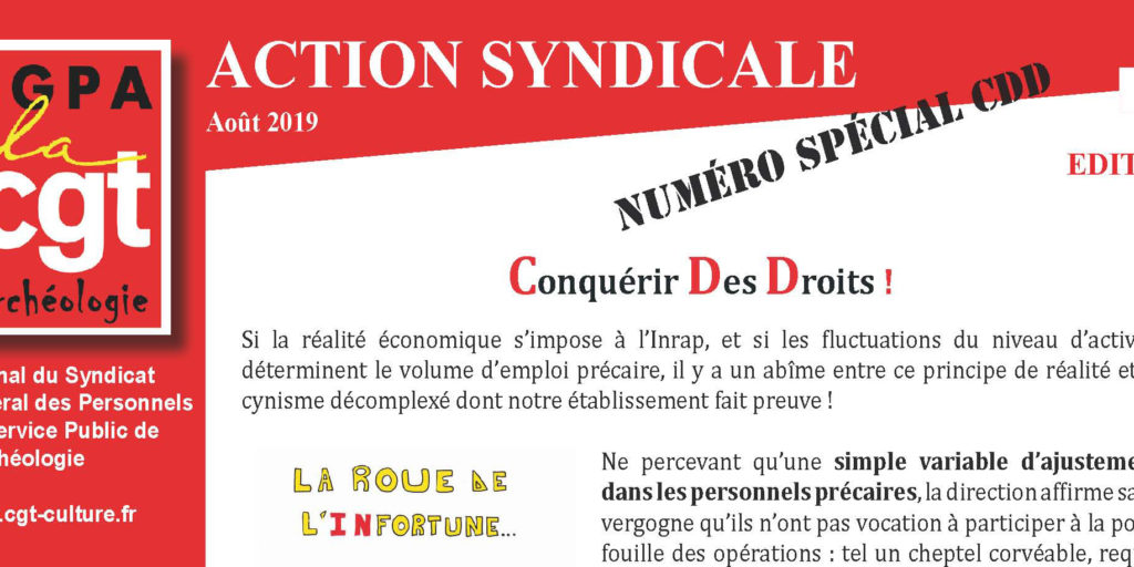 Inrap- Action Syndicale Août 2019