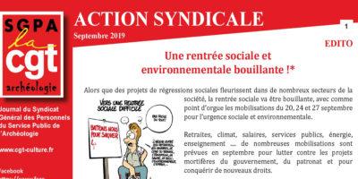 Inrap – Action Syndicale Septembre 2019 – Une rentrée sociale et environnementale bouillante