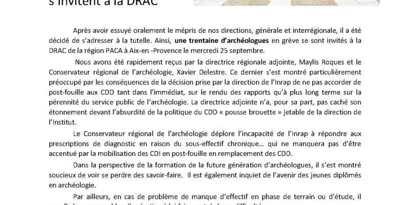 CDD à l'INRAP: Les agents de PACA s'invitent à la DRAC