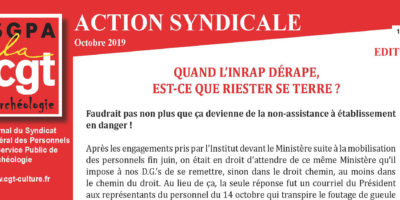 INRAP – ACTION SYNDICALE OCTOBRE 2019