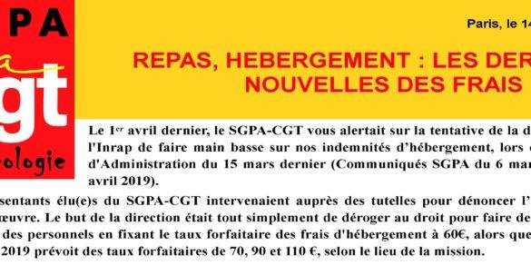 INRAP – OCTOBRE 2019 – REPAS, HEBERGEMENT : LES DERNIERES NOUVELLES DES FRAIS DE DEP'