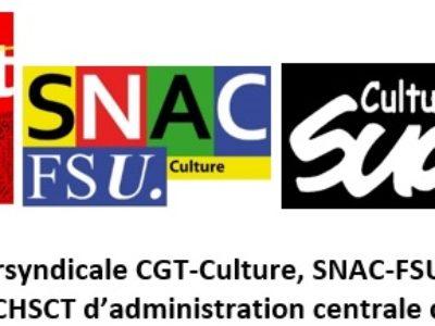 Déclaration intersyndicale CGT-Culture, SNAC-FSU et SUD Culture Solidaires au CHSCT d'administration centrale du 10 octobre