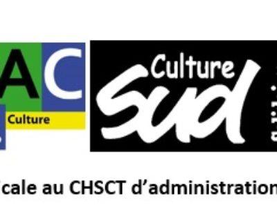 Déclaration intersyndicale CGT FSU SUD au CHSCT-AC du 1er octobre 2019